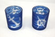 Teelichthalter Anker/Steuerrad sort. ca.8x7cm