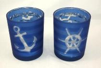Teelichthalter Anker/Steuerrad sort. ca.12x10cm