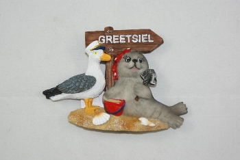 Magnet Seehund Möwe Schild Greetsiel