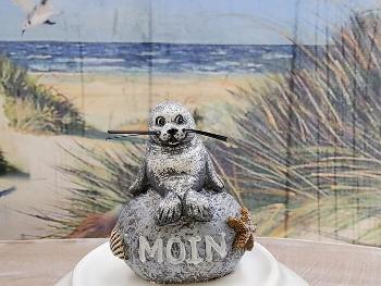 Seehund auf Stein Moin ca.4x3x5cm
