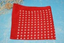 Tuch rot kleine Segelschiffe rot ca. 52x52 cm Baumwolle