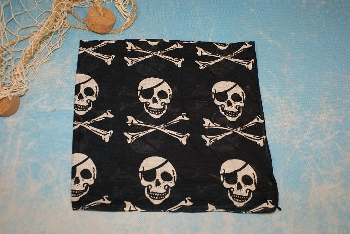Tuch Pirat schwarz-weiß ca.55x55cm Baumwolle