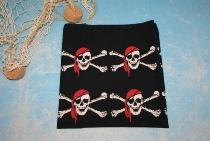 Tuch Pirat schwarz-weiß-rot ca. 55x55 cm Baumwolle
